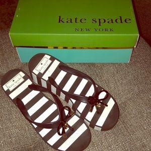 Kate Spade black and white wedge flip flops